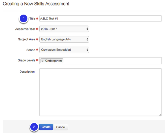 Creating a New Skills Assessment