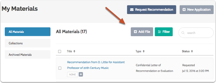"""Click """"Add File"""" on your Dossier Materials page"""