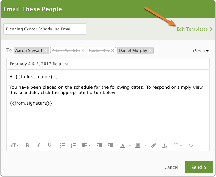 "Click ""edit email templates"" at the bottom of any compose email window"