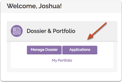 After adding your AACOMAS ID, navigate to your Dossier