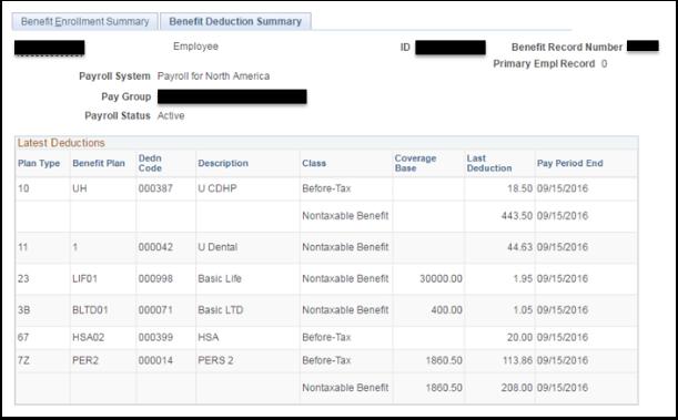 Benefit Deduction Summary tab