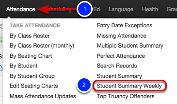 Student Attendance Summary Weekly (Calendar Format)