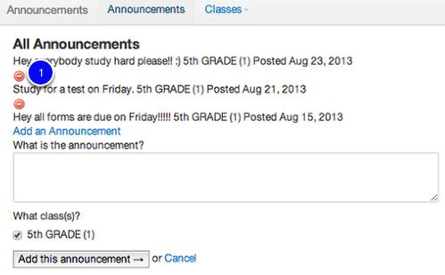 Delete an Announcement