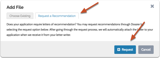 "To request a new recommendation, open the ""Request a Recommendation"" tab, and click the ""Request"" button to begin the process"