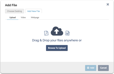 "To upload a new file from your computer, choose the tab labeled ""Upload a New File"""