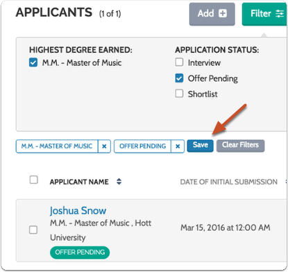 "Click ""Save"" to name and save the filtered view of the applicant list"