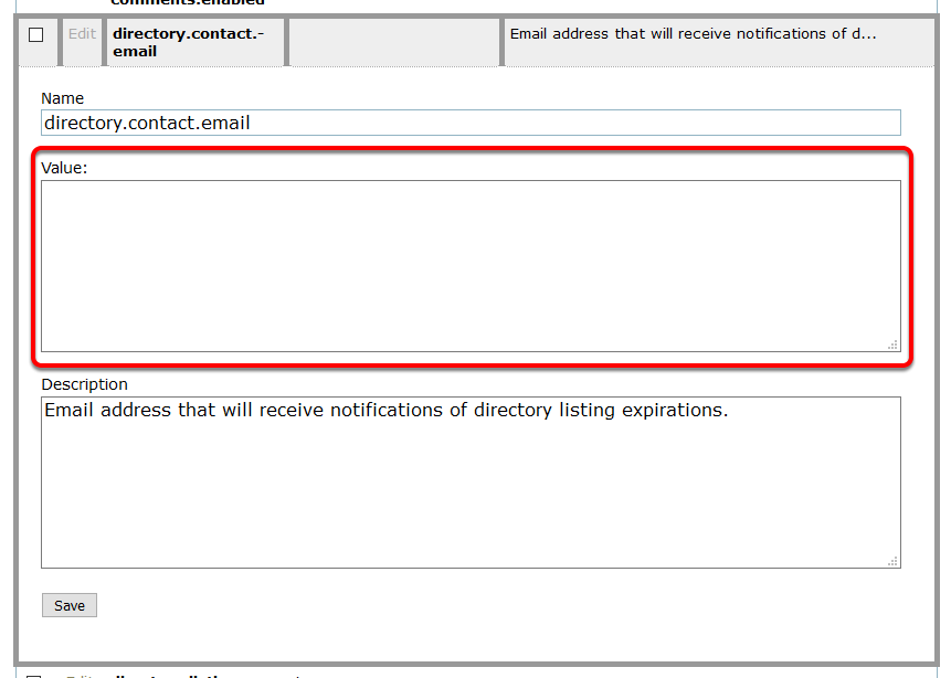 Update the Value with the email address(es) you'd like, separated by commas, to send notices to internally.