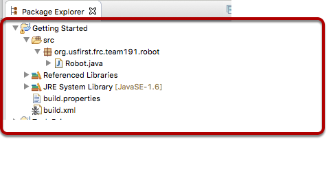 The project is created in the Projects window in Eclipse