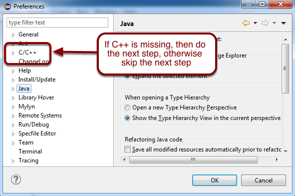 Adding C++ to Java Eclipse