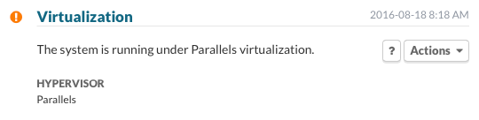The system is running under Parallels virtualization.