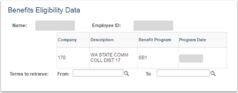 Benefits Eligibility Data page