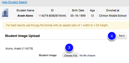 Choose and Upload Student's Image