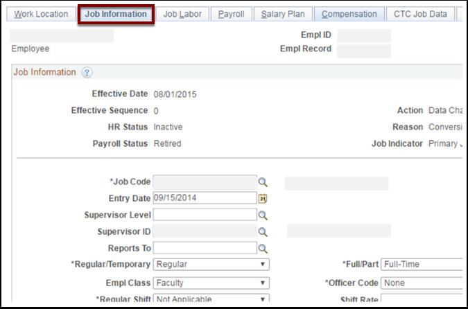 Job Information tab