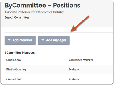 "Click ""Add Manager"" to call up a list of available Committee Managers for your committee"