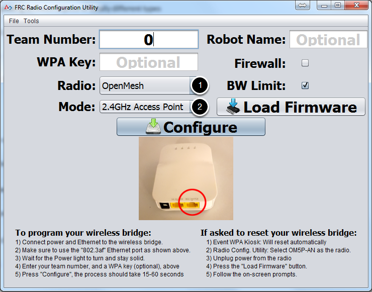 Select a bridge model and operating mode