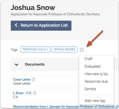 You can also add labels from the Applicant Profile page:
