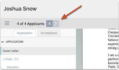 Use the arrows at the bottom left of the viewer to move between applications when multiple applicants are selected