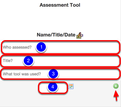 Enter the Assessment Tool, Name, Assessor Title and Date
