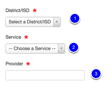 Add District/ISD, Service & Provider