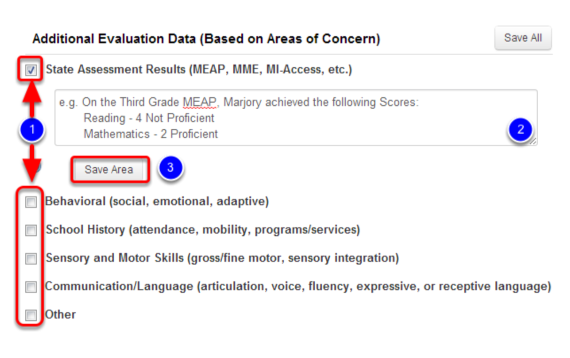 Select and Enter Any Additional Evaluation Data
