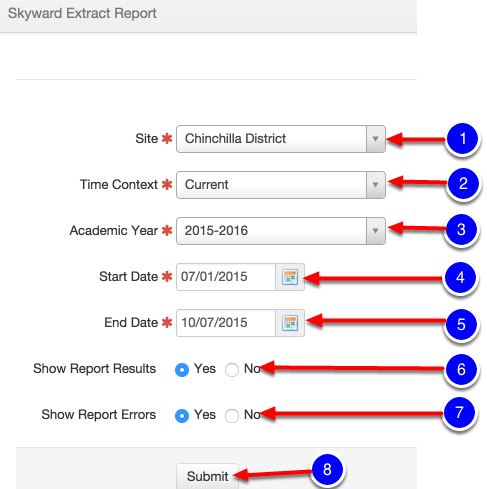 Go to Reports->Skyward Extract Report