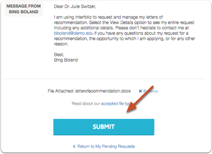 "Click ""Submit"" when you are ready to submit your recommendation"