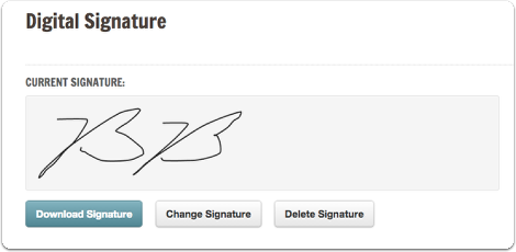 From here you can download, change, or delete your digital signature