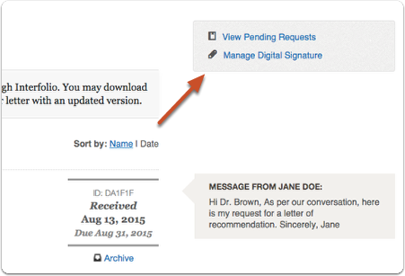 "Click ""Manage Digital Signature"" to make changes to the digital signature saved with your account"