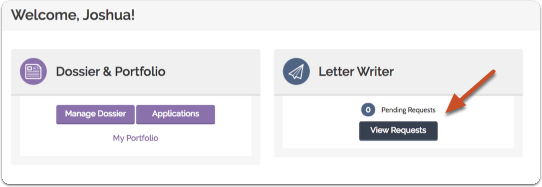 """Click """"View Requests"""" on your Letter Writer account dashboard"""