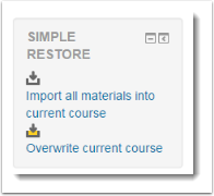 Scroll down the page to the Simple Restore block.