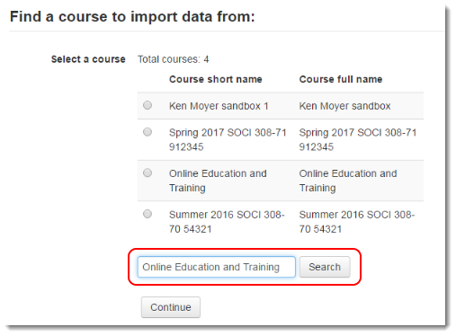 Use the Search field if the course is not listed.