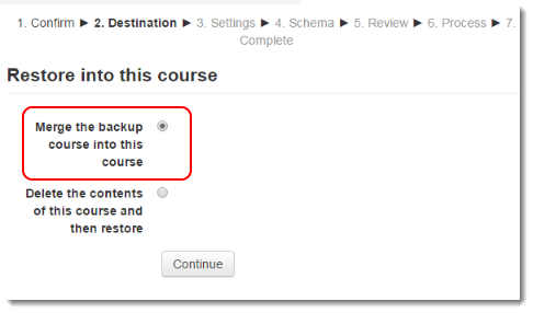Select Merge the backup course into this course.