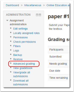 Advanced grading link is selected.