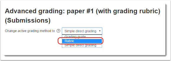 Select Rubric as the grading method.