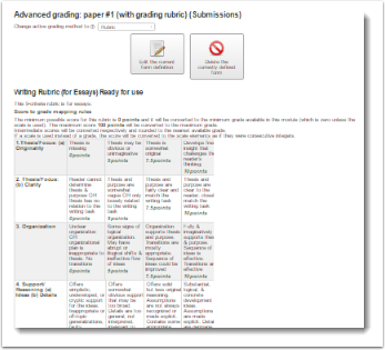 The Advanced grading page now dispays showing the complete, ready-to-use rubric.