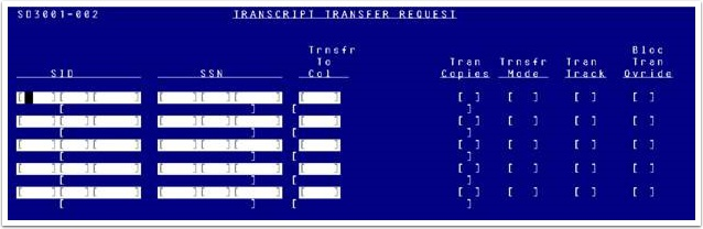 Legacy Transcript Transfer Request page