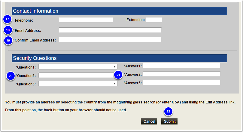 Contact Infomation, Security Questio fields of the OAA Application