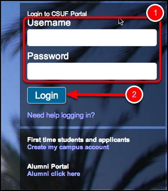 Enter your CSUF Student username and password, then click Login.