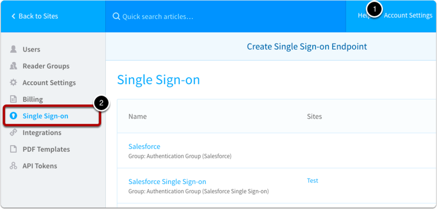 Navigate to Account Management > Single Sign-On