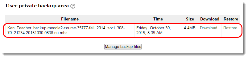 backup file name is selected.