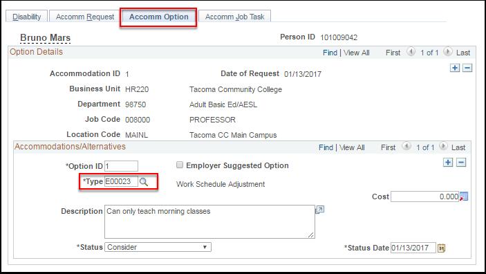 Accomm Option tab