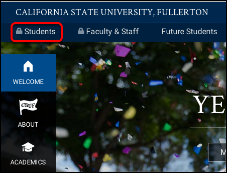 Log into the CSUF Portal. Click Students.