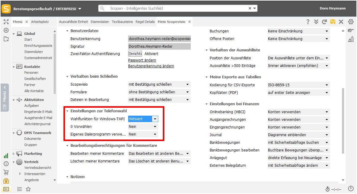 Windows TAPI aktivieren
