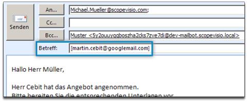 Interne E-Mails Kontakten zuweisen