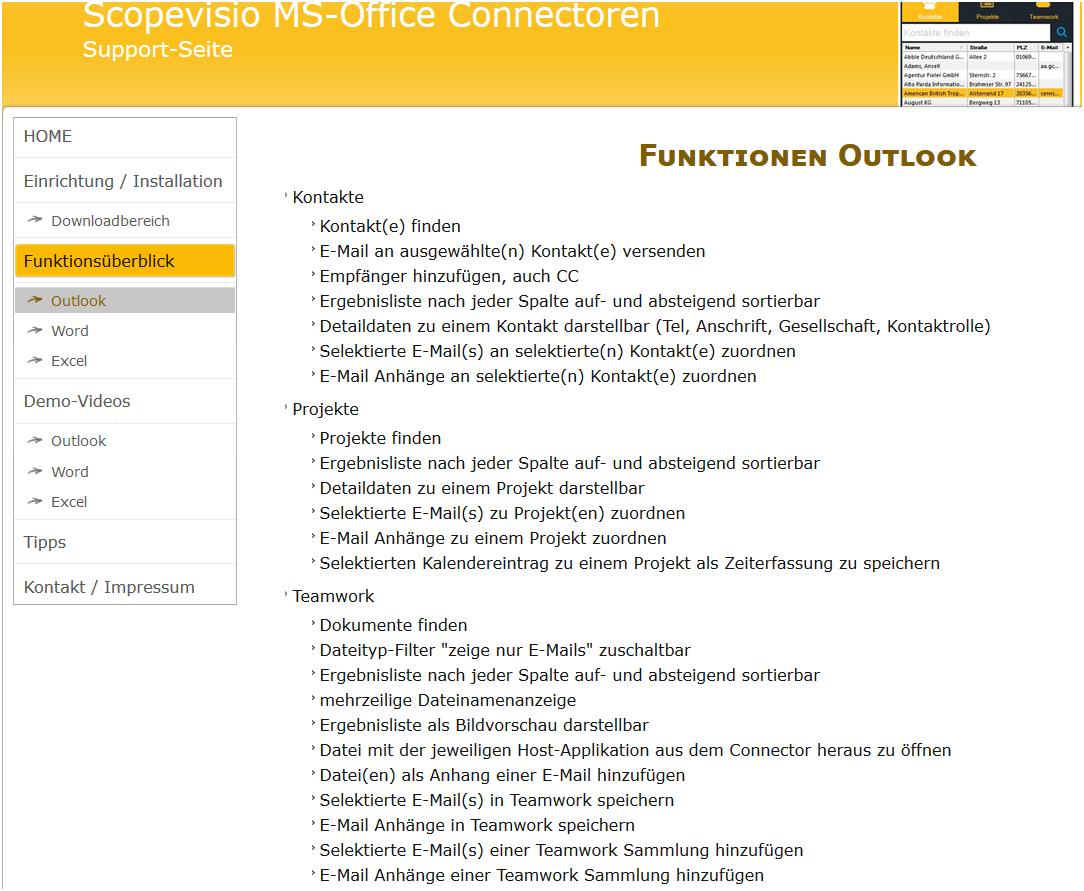 Erweiterte Funktionen des Office Connectors