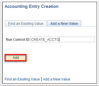 Accounting Entry Creation - Add a New Value tab