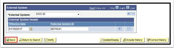 External System page - Save button highlighted