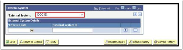 External System page - External System field highlighted