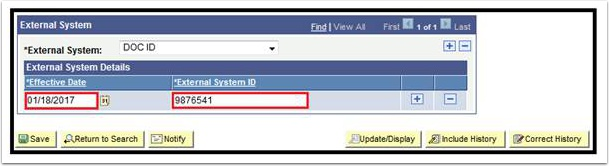 External System page - Effective Date and External System ID fields highlighted