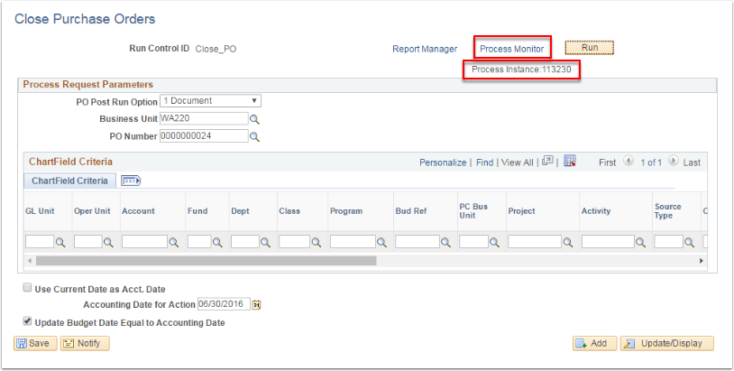 Close Purchase Orders page - Process Monitor highlighted